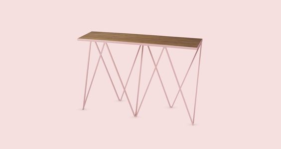 Pink Giraffe console table with walnut top. #andnewfurniture www.andnew.co.uk  A Splash Of Colour