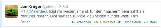 Jan Krüger – @einball – postete vorhin diesen Text auf Twitter. Vielen Dank für die Wertschätzung, Jan Krüger