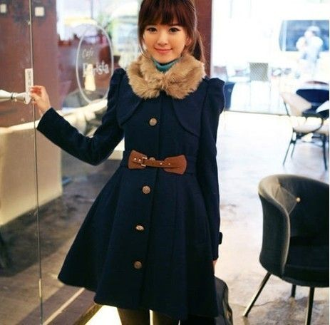 Fashion Women's Faux Cashmere Warm Double-breasted Badges Trench Coat /Jackets