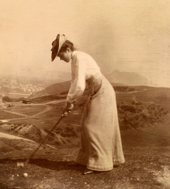 Woman playing golf at Braid Hills, Edinburgh, Scotland in 1902