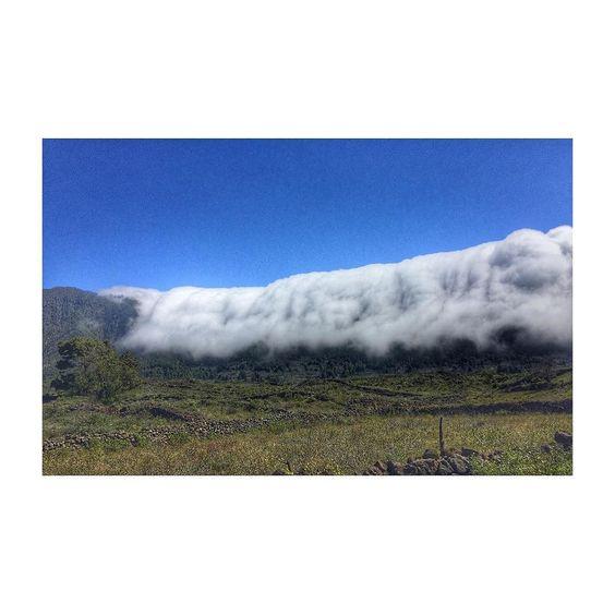 En la isla de La Palma las montañas se comen a las nubes. Se forman cascadas blancas gigantes que bajan a toda velocidad. Por lo visto es por culpa de los vientos alisios. Yo tengo resaca y me rio todo el rato. by mrkilombo