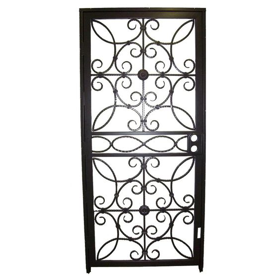 Grisham 36 In X 80 In 467 Series Black Prehung Universal Hinging Outswing Wrought Iro Wrought Iron Security Doors Iron Security Doors Wrought Iron Front Door