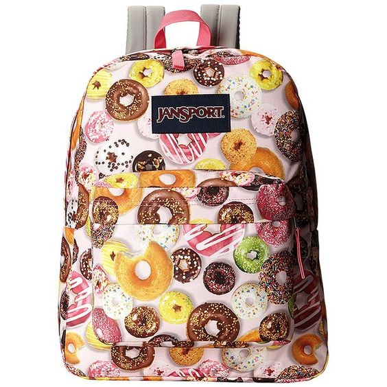 JanSport SuperBreak (Multi Donuts) Backpack Bags ($30) ❤ liked on Polyvore featuring bags, backpacks, pink, jansport rucksack, jansport bags, rucksack bags, handle bag and pink backpack