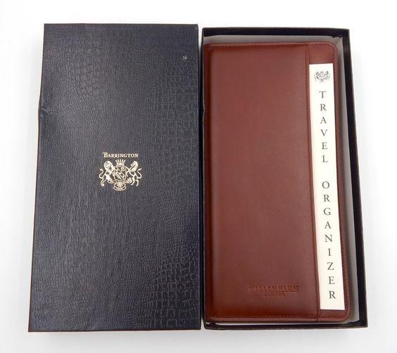Barrington Gifts Leather Travel Organizer Brown Passport Document Holder NEW! #Barrington