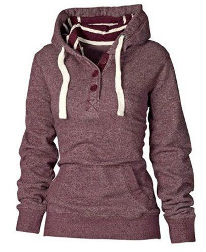 Active Striped Hooded Buttoned Pocket Design Pullover Hoodie For Women
