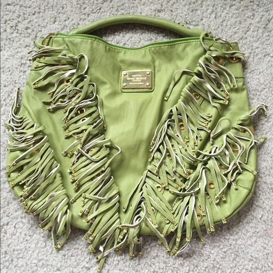 Gianni Versace couture fringe green purse Large purse! I can only take 4 pictures but the gold plate at the top of the purse has come off a little but can easily be glued back on. Fringe detailing, back is plain Versace Bags Totes