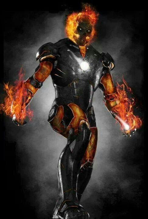 a combo of my two favorite heroes ironman and ghost rider