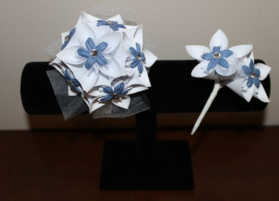 White and Blue-Grey Corsage & Boutonniere - Alternative Wedding Flowers - Prom Corsage and Boutonniere. $25.00, via Etsy.  #wedding #paperflowers #etsy #handmade #rustic #corsage #boutonniere