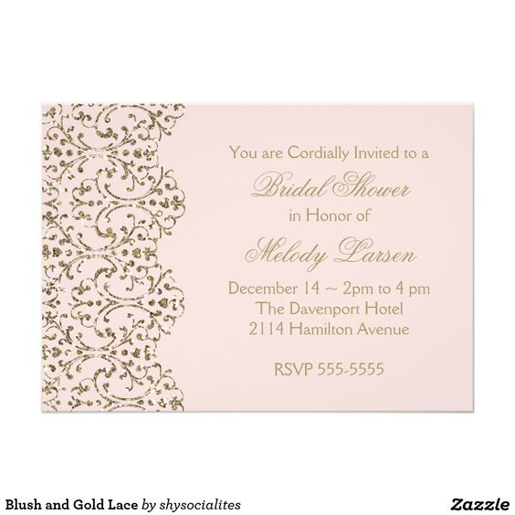 Blush and Gold Lace 5x7 Paper Invitation Card