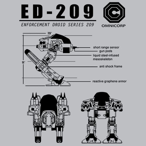 Robocop ED-209 T-Shirt The Enforcement Droid, Series 209, or ED-209, are a…