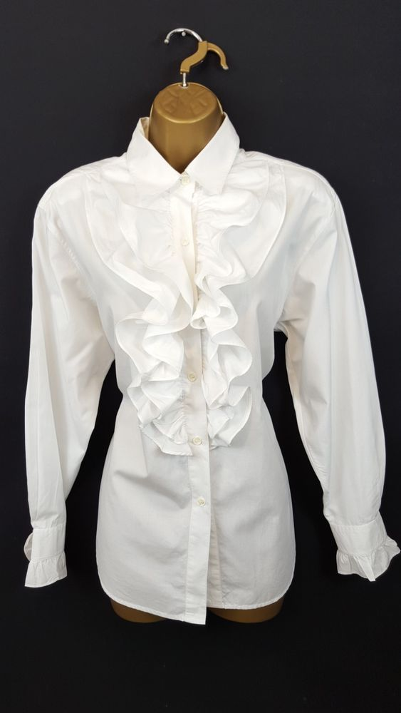12 Designer Austin Reed Ruffle Front White Dress Top Blouse Shirt Seeother Items White Dress Top Tops Shirt Blouses