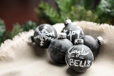 Festive Chalk Art Ideas For Spreading Christmas Cheer Painted Christmas Ornaments Diy Christmas Ball Easy Christmas Ornaments
