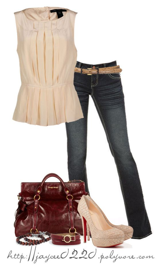 """""""Red and Cream"""" by jaycee0220 ❤ liked on Polyvore featuring Miu Miu, Lauren Ralph Lauren, Marc by Marc Jacobs, Christian Louboutin, David Yurman and House of Harlow 1960"""