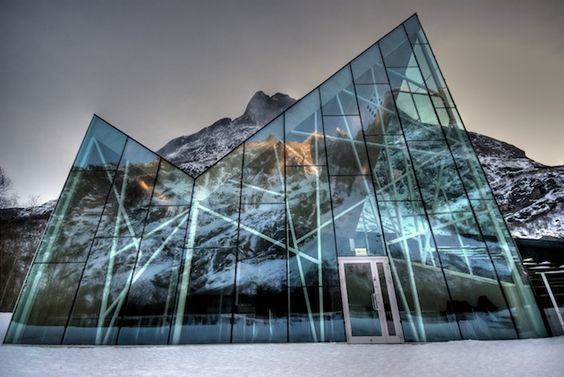 STUNNING GLASS VISITOR'S CENTER FOR NORWAY'S TROLLWALL