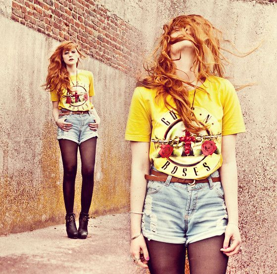 Romwe Guns.N.Roses, Romwe Used Rolled Shorts, Romwe Cross Necklace, Nelly Monster Heels