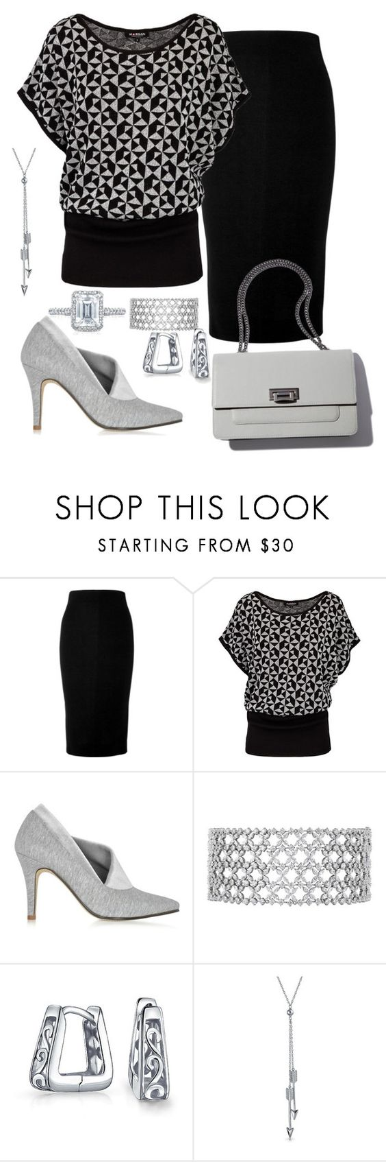"""Shades of Grey"" by sommer-reign ❤ liked on Polyvore featuring Victoria Beckham, Morgan, Zoe Lee, Bling Jewelry and Tacori"