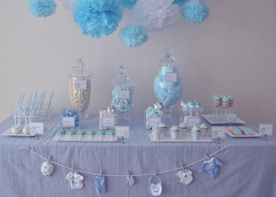 """Mesa Dulce """"Baby Shower"""" para dar la bienvenida a un niño / Baby Shower candy table to welcome a boy"""