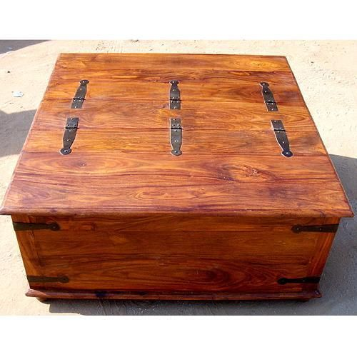 Large square storage box trunk with metal accents coffee for Large wood coffee table square