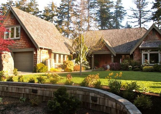 Shingle cottage designs cedar siding and stone house for Cedar shake house plans