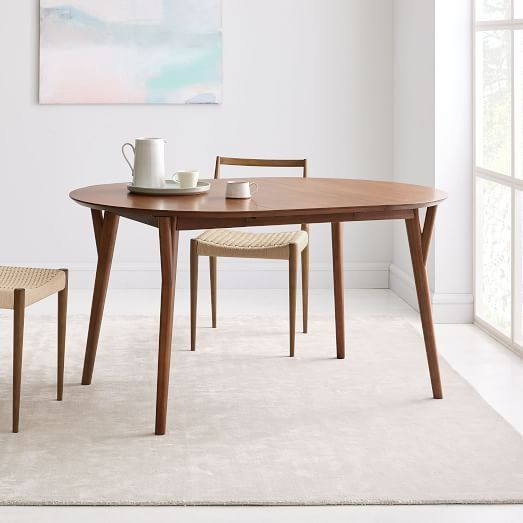 Mid Century Rounded Expandable Dining Table Expandable Dining