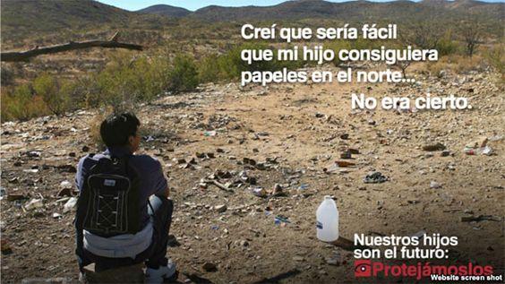 Cartel de una campaña publicitaria para evitar el éxodo masivo de niños centroamericanos