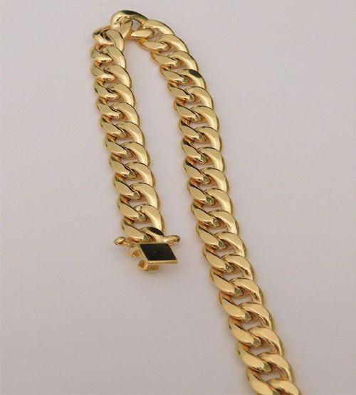 10k Yellow Gold Miami Cuban Link Bracelet 8mm Cuban 9 Inch Hollow 8mm By Rg D This Gorgeous 10 Karat Yellow G Link Bracelets Yellow Gold Chain Miami Cuban Link