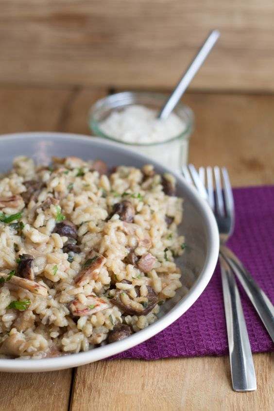 Bacon Mushroom Risotto. Will substitute the rice for cauliflower rice and a few other ingredients to make it paleo.