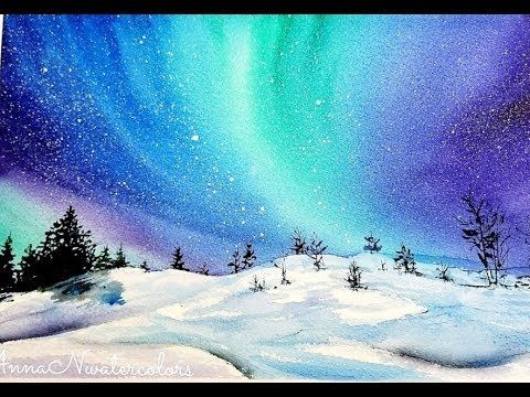 Northern Lights Winter Landscape Watercolor Painting Quick