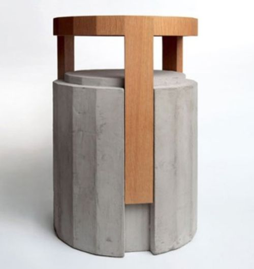 Stools concrete wood and side tables on pinterest Concrete and wood furniture