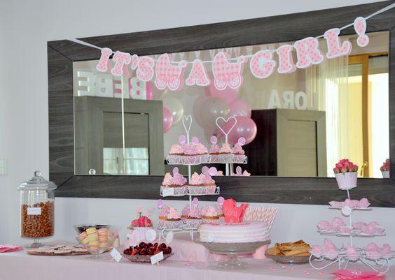 Buffet baby shower rose pour une fille organis e par l 39 quipe mybbshowers - Decoration pour buffet ...