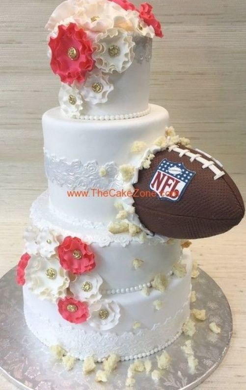 Pin By Jennifer Wilson On Wedding Cakes In 2020 Funny Wedding Cakes Football Wedding Cake Groom Wedding Cakes