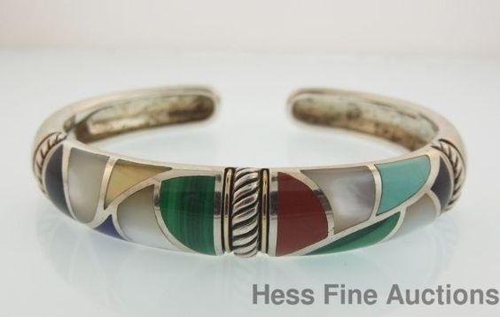 Designer Asch Grossbardt 18k Gold Sterling Silver Fine Inlay Cuff Bracelet #AschGrossbardt #Cuff