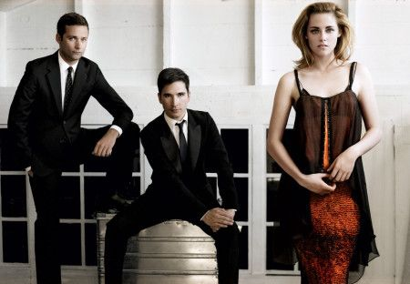 From far left: Jack McCollough and Lazaro Hernandez of Proenza Schouler with actress Kristen Stewart. Dress, $2,350; proenzaschouler.com.