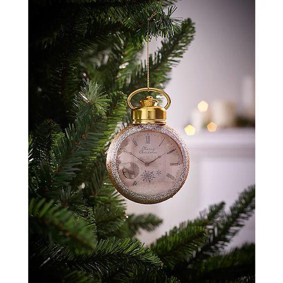 Gold Glitter Pocket Watch Christmas Tree Bauble Christmas George Christmas Tree Baubles Christmas Tree Decorations Christmas Baubles