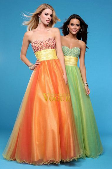 # A Line Sweetheart Floor Length Organza Beaded With Sash/Ribbon Prom Dress(PC58EMH2)