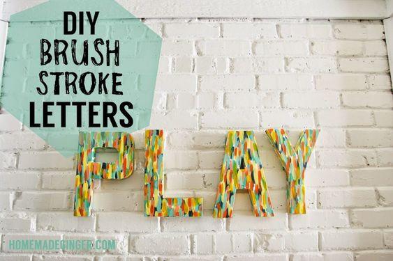 DIY Brush Stroke Letters - Homemade Ginger