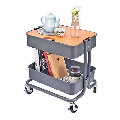 2 Tier Metal Utility Rolling Cart Storage Side End Table With Cover Board For Office Home Kitchen Kitchen Storage Shelves End Tables Craft Tables With Storage