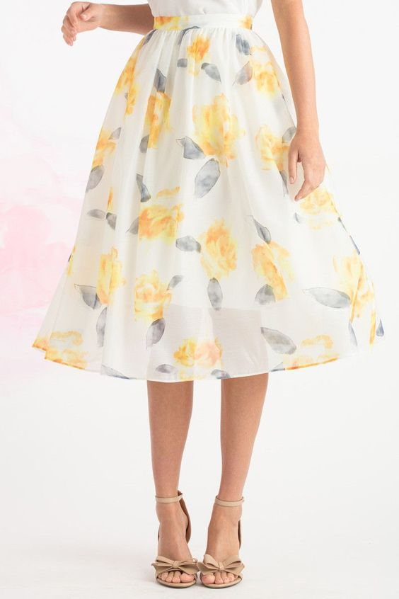 Kayla Yellow Floral Midi Skirt | skirts | Pinterest | Mid length ...