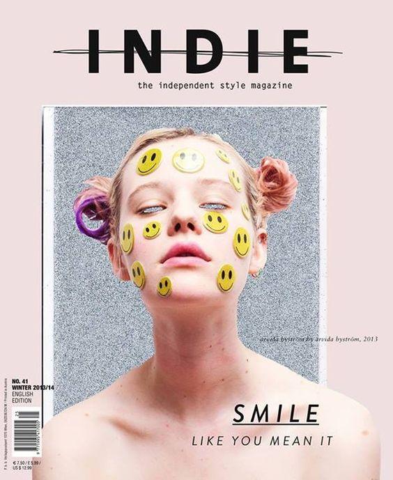 jujufootwear:  We love this amazing smiley INDIE MAG cover by super gal Arvida Bystrom.