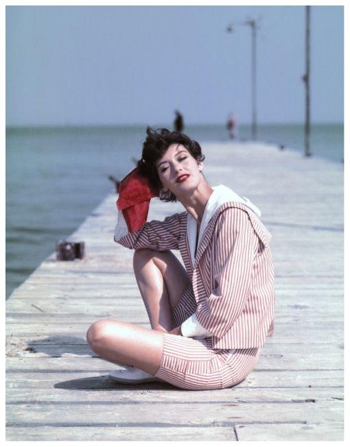 Georges Dambier,Barbara Mullen on the Boardwalk, St. Tropez, 1957