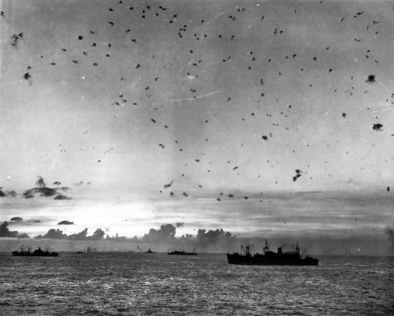 Flak Filled Sky as Planes Attack US Navy Ships Invasion of Saipan