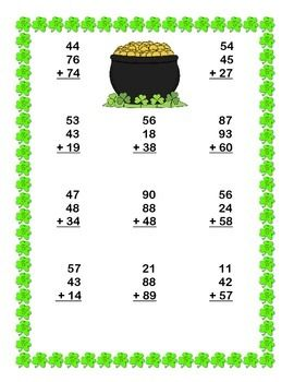 Printables 2st Grade Math Worksheets second grade math review st patricks day theme ccss columns the ojays and comparing numbers