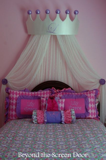 Bed Crown - The #1 Thing Every Princess Needs In Her Bedroom | Beyond the & DIY: Princess Castle Headboard | Princess headboard Castles and ...