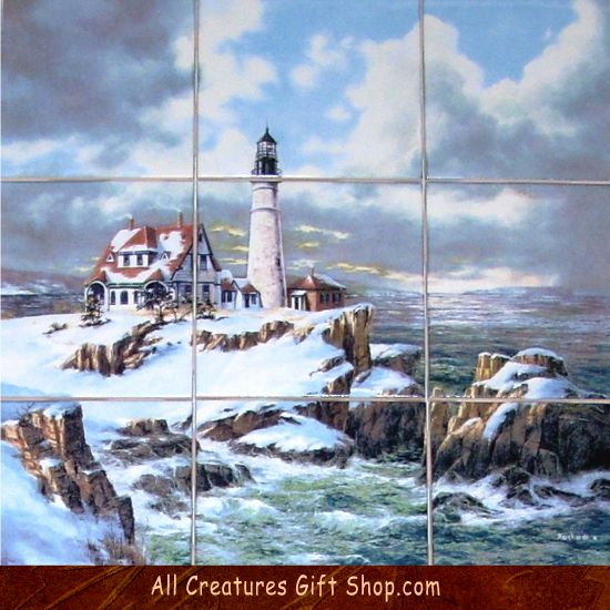 Winter Lighthouse Snow Scene Ceramic Tile Mural. This painting is ...