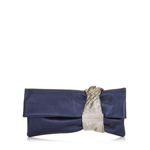 JIMMY CHOO CHANDRA Navy Metallic Nappa Clutch Bag with Chainmail Bracelet. #jimmychoo #bags #lining #clutch #metallic #hand bags #