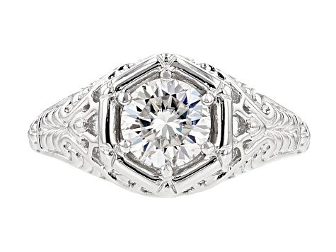 Moissanite Fire 1 00ct Diamond Equivalent Weight Round Platineve Ring Rings Diamond Cleaning Jewelry