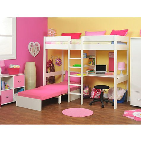 Stompa Uno Plus High Sleeper With Chair Bed And Desk, Pink   Lovely  Functional Design