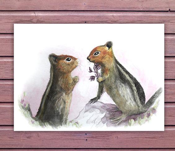 Printable Nursery Art  Cute Squirrels by SixDaysCreations on Etsy