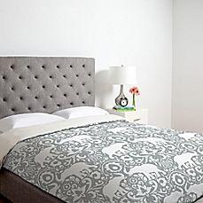 image of DENY Designs Jacqueline Maldonado Elephant Damask Paloma Duvet Cover in Grey