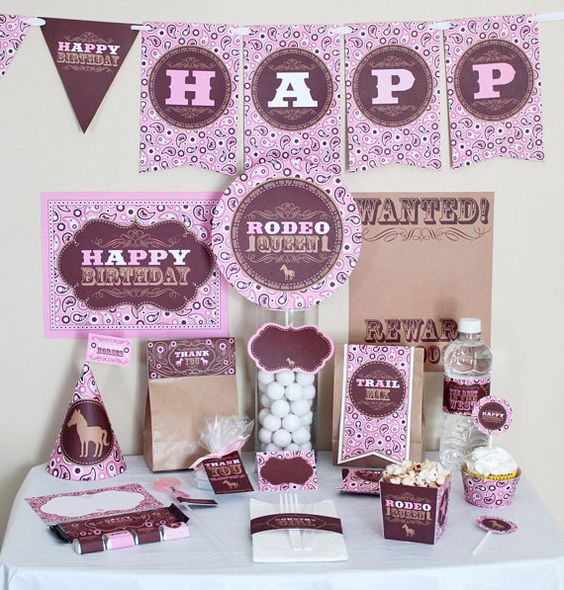 pink cowgirl party printable set, $10